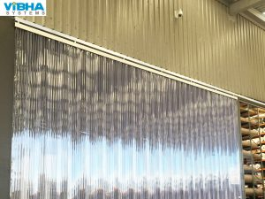 Ribbe dPVC Strip Curtains, Double Ribbed PVC Strip Curtains, Transparent Ribbed PVC Flap Doors for Warehouse,, Loading Dock Strip Curtains