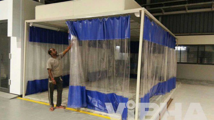 specializes in the manufacturing of auto body shop curtain walls to fit any space for a variety of uses relative to the auto body shop units